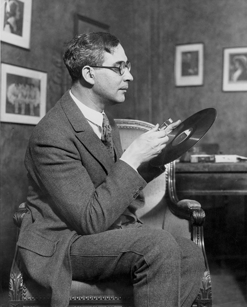 The Cleveland Orchestra's first conductor Nikolai Sokoloff admiring the orchestra's first recording in 1924. Photo by Wide World Photos, courtesy of The Cleveland Orchestra Archives.
