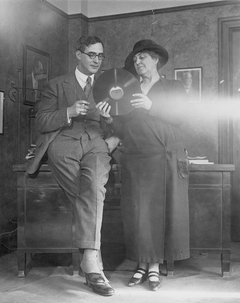 Nikolai Sokoloff and Adella Prentiss Hughes examining the first recording of The Cleveland Orchestra in 1924. Photo by Wide World Photos, courtesy of The Cleveland Orchestra Archives