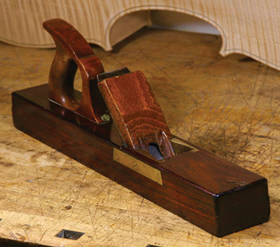 Violin maker Guy Harrison's wooden plane woodworking tool, inherited from his great-grandfather, Granville Harrison