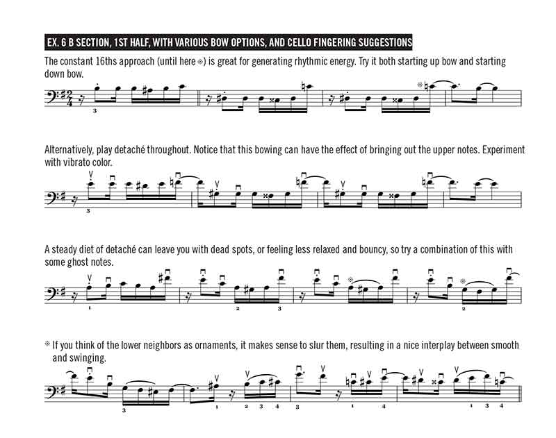 Ex. 6 B section, 1st half, with various bow options, and cello fingering suggestions