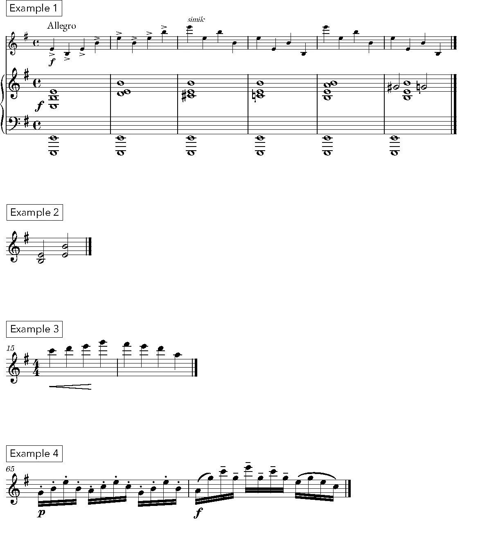 Fritz Kreisler's 'Praeludium and Allegro' musical notation examples 1–4