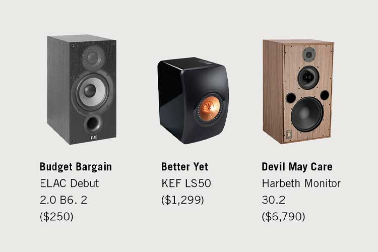 three speaker options ranging in prices on a white background