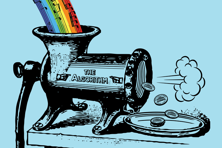 Streaming Music: rainbow music notes flowing into a grinder