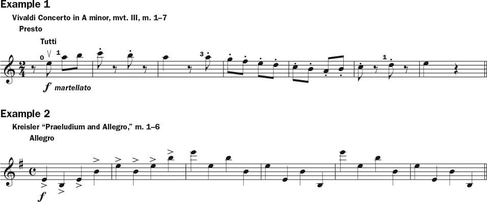 Martele bowing technique examples 1–2