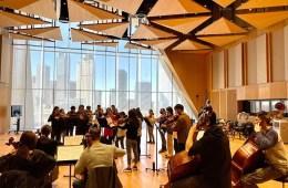 Juilliard and Tianjin Juilliard students rehearsing