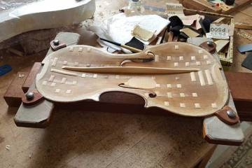 The top of a 1776 Gagliano violin with astonishing sound, Courtesy of Mark E. Russell