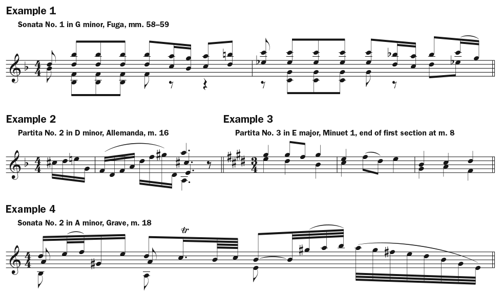 Play Bach Better by Improving Your Fifths music notation examples 1–3
