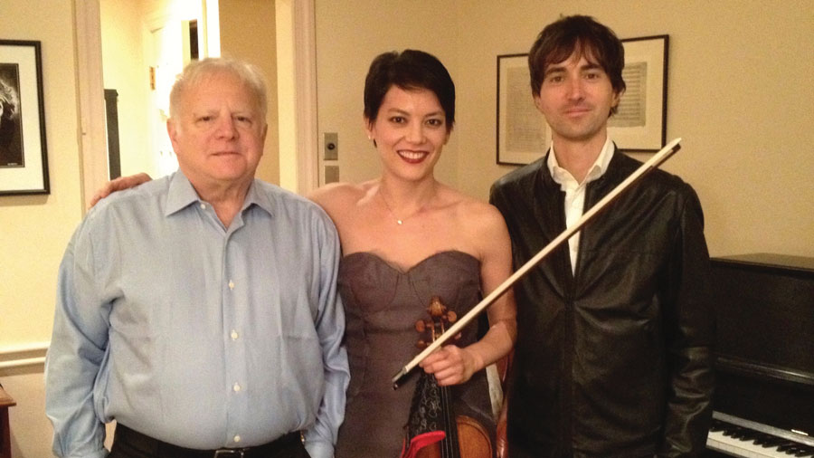 Maestro Leonard Slatkin (left), Anne Akiko Meyers, and composer Mason Bates