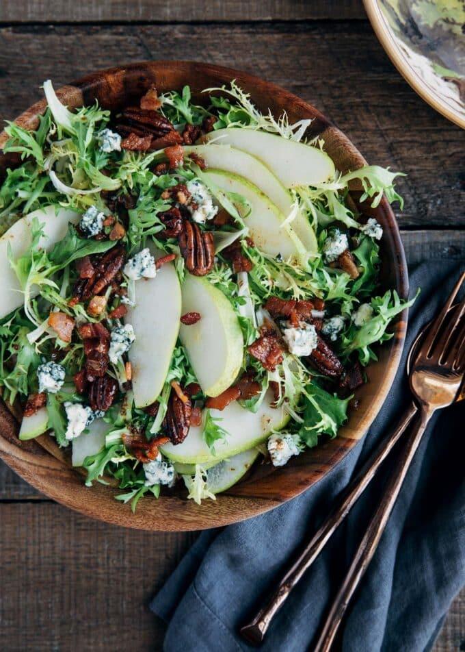 Pear Salad with Warm Bacon Vinaigrette
