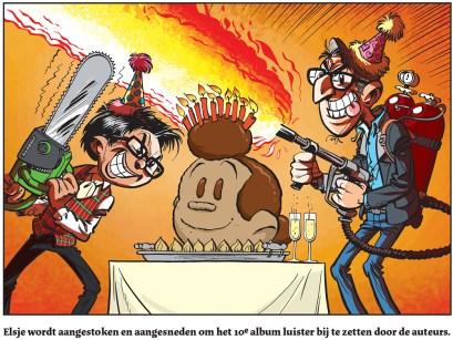 Gerben Valkema en Eric Hercules snijden een Elsje taart aan.