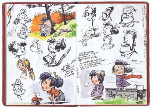 Het schetsboekje met de eerste schetsen van Elsje door Gerben Valkema.