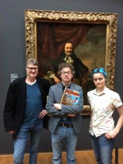 Tekenaar Pieter Hogenbirk, schrijver Herman Roozen en inkleurder Lance Roozen bij de presentatie van het album in het Rijksmuseum.