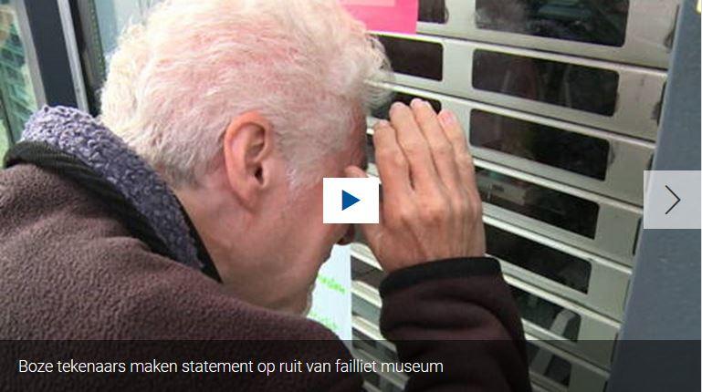 Protest bij het stripmuseum Rotterdam