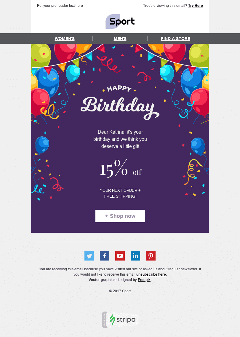 In case you haven't heard,amazon accidentally sent an email template to a userearly this year. 17 Birthday Html Email Templates For Free In 2019 Stripo