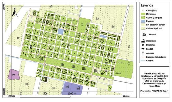 Mapa de Monte Maíz, donde se refleja la posición de depósitos y acopios. Los puntos negros reflejan casos de vecinos con problemas de salud. Los pequeños puntos rojos en las calles reflejan el recorrido del transporte de los agroquímicos.