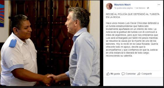 Mauricio Macri, Patricia Bullrich, Luis Chocobar, Casa Rosada, Santiago Maldonado y Rafael Nahuel, doctrina Irurzun, Gatillo Facil