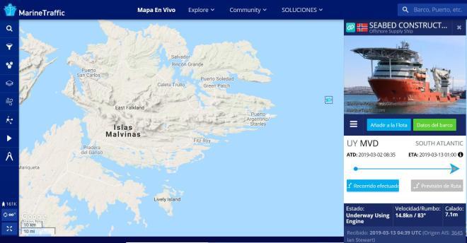 Seabed Constructor, barco de servicios petroleros, noruega, inglés Swire Group, Ocean Infinity, ARA San Juan, plataforma continental argentina, buque coreano cerealero, Puerto Argentino, islas Malvinas, petroleo