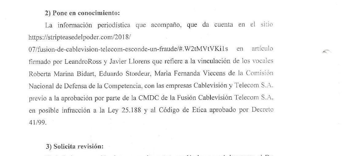 fusión telecom cablevision greco bidart CNDC