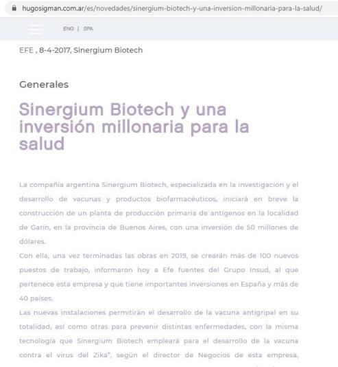 Sigman, Vizzotti, Sinergium Biotech, mABxience, ELEA, vacunas