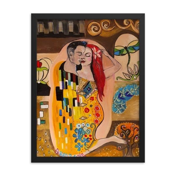 The Kiss - Gustav Klimt Inspired - Framed poster