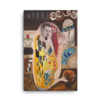 Image of Klimt Inspired - The Kiss - 24 x 36 - Canvas by Deborah Kala