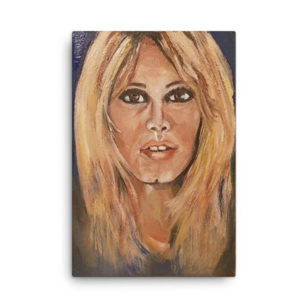 "Image of Seventies Bardot - 24"" x 36"" - Canvas - Inspired by the screen Godess Bridget Bardot, painted in acrylic on canvas by artist Deborah Kalvrezou exclusive to StripyDot."