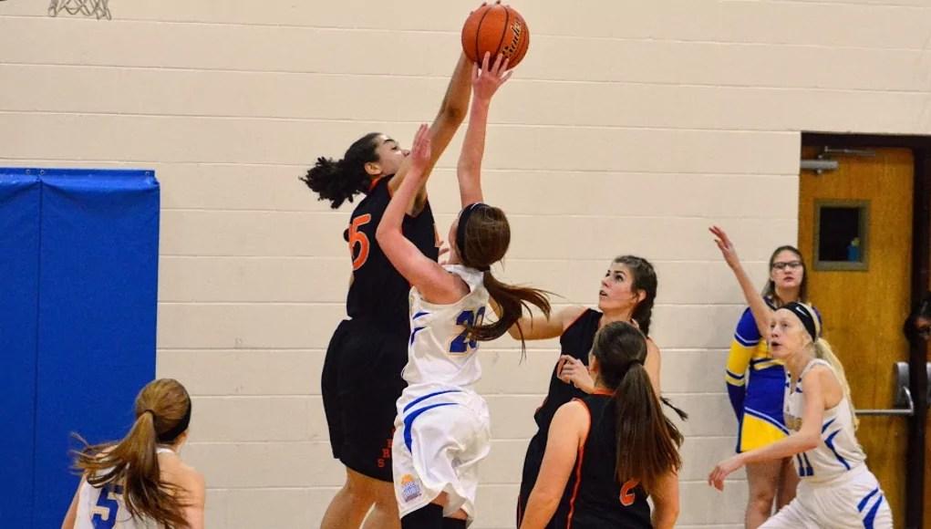 Keyana Wilfred blocking a Morrill player. Photo: Jenny Blatt