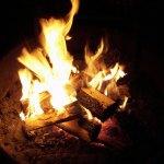 Campfire burning at night