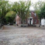 Cobble lined roads of downtown Nantucket Island