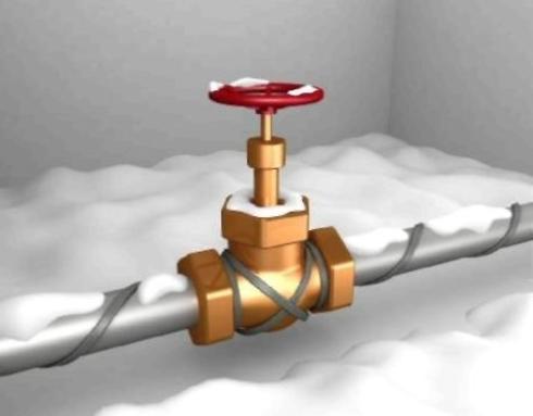 Обогрев трубы и вентиля греющим кабелем