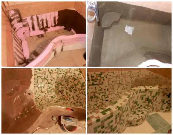 거품 거품 조각에서 목욕 제조 기술