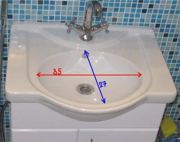 Размеры умывальников для ванной комнаты