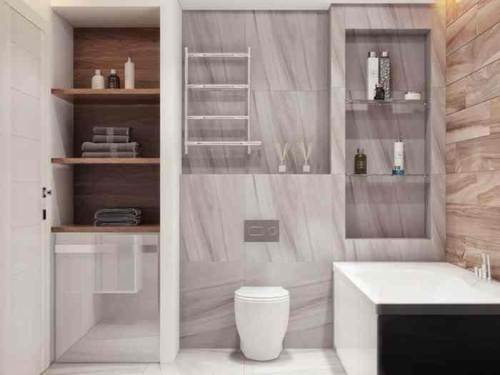 Встроенный шкаф в ванной комнате-5