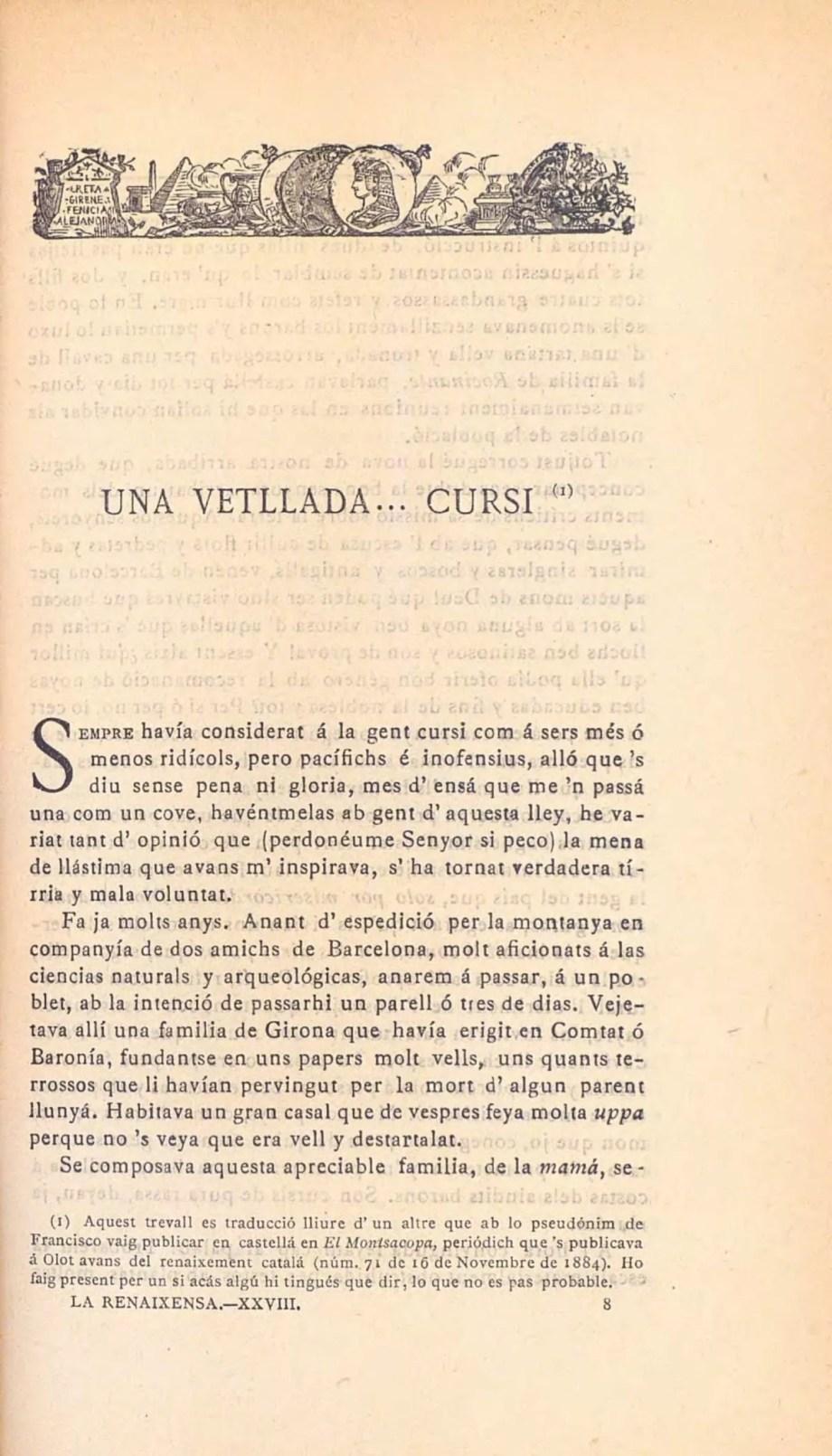 una vetllada cursi Marià Vayreda conte