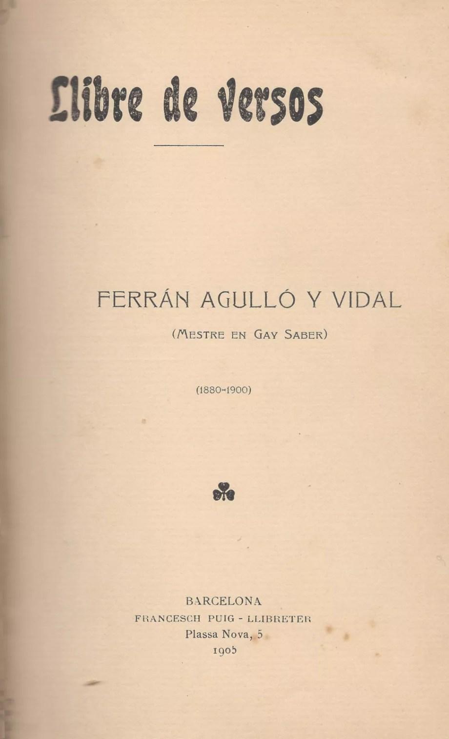 llibre de versos ferran agulló poesia poema costa brava cuina catalana jocs florals englantina catalunya