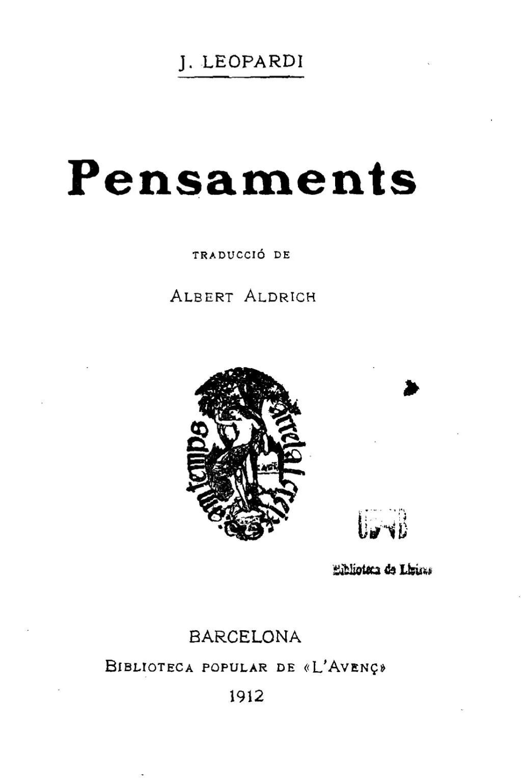 pensaments giacomo leopardi traducció català albert aldrich