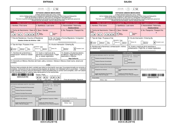 Mexico FMM tourist visa