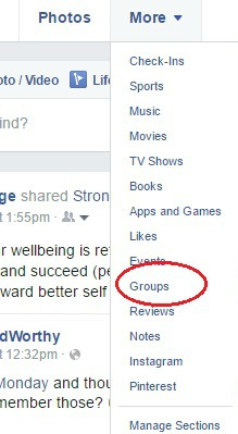 Find the groups list in a Facebook profile.