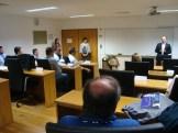 (07/10) O presidente do ISCTE, Prof. Dr. Paulo Bento recebe o grupo de alunos da FGV e lhes apresenta as boas vindas.