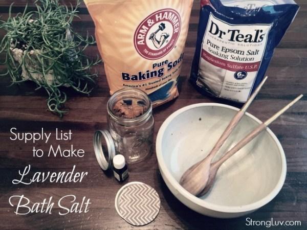 supply list to make lavender bath salt