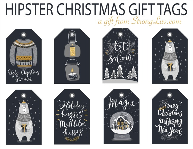 free hipster christmas gift tags