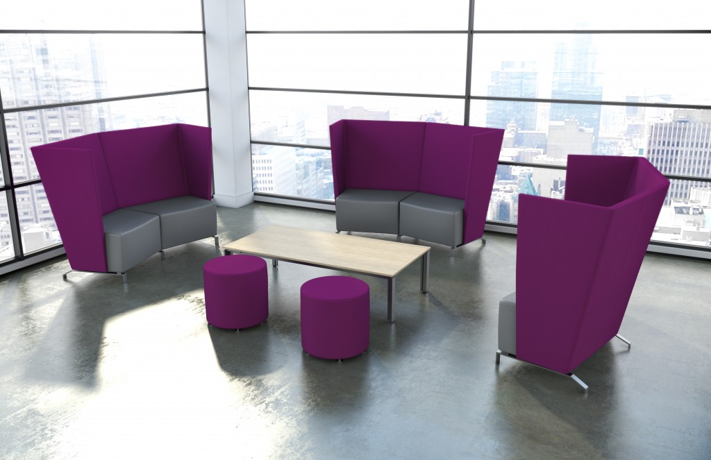 Use plum as an accent color in larger modern office furniture pieces such as acoustic seating, or an accent office wall