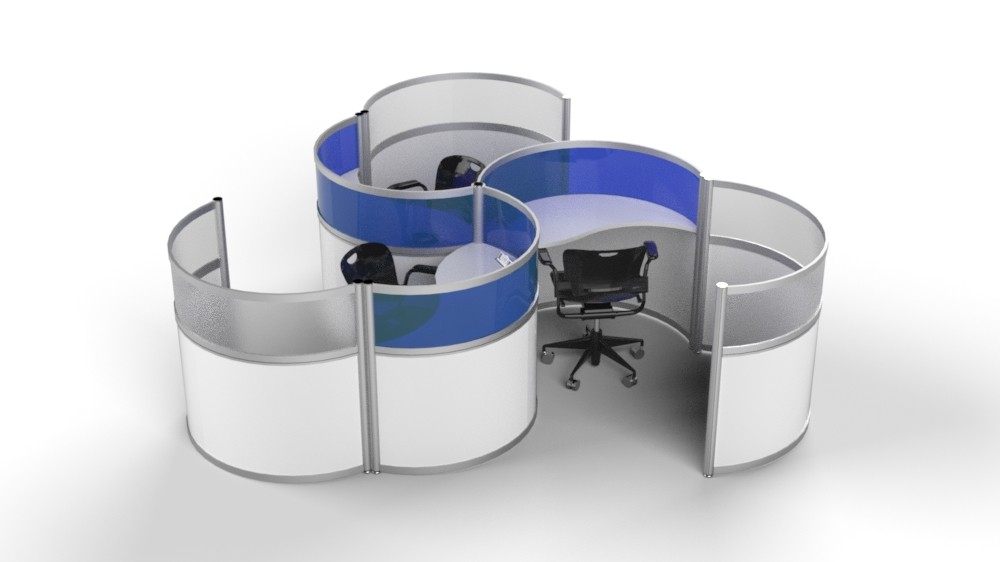 Modern workstations are moving away from square cubes to for more comfort.