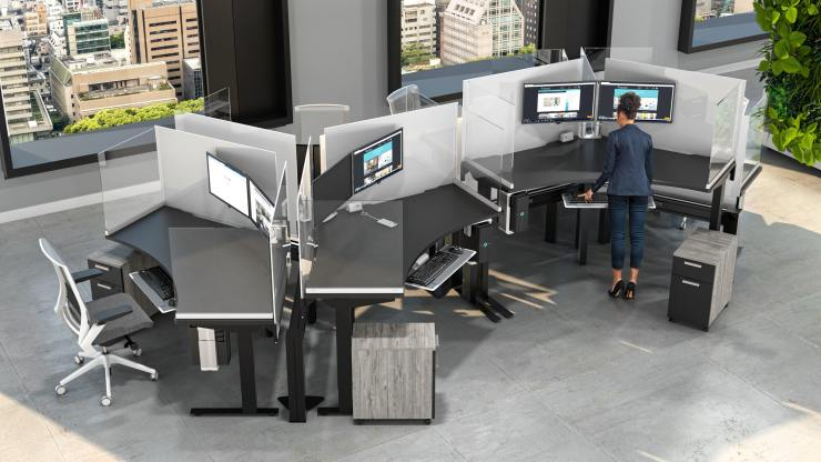 Sit-stand workstations get a boost of color and protective screens
