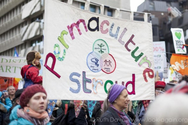 Stroud Permaculture Group Banner on climate march in London 29 November 2015