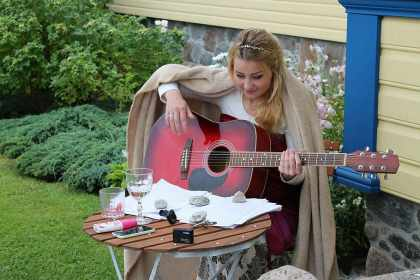 Lady writing a song