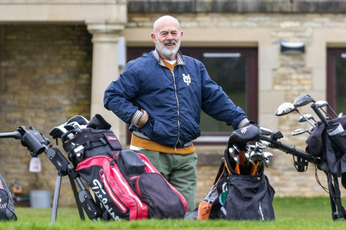 Keith Allen at the first tee of Minchinhampton New Course on Monday. Picture: Carl Hewlett
