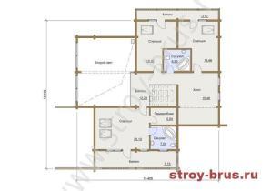 План помещений в доме из бруса Семейный