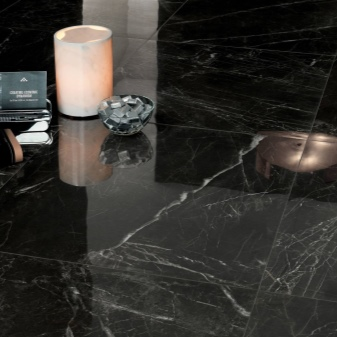 Черная напольная плитка (47 фото): глянцевое и матовое ...