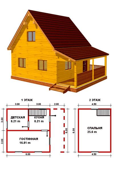 Проект дома 8 на 6 м - варианты планировок (50 фото ...